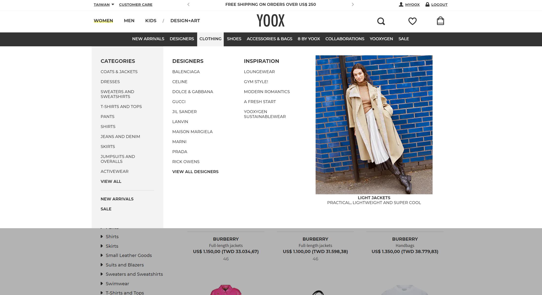 YOOX 購買教學-開始購物 & 類別導覽