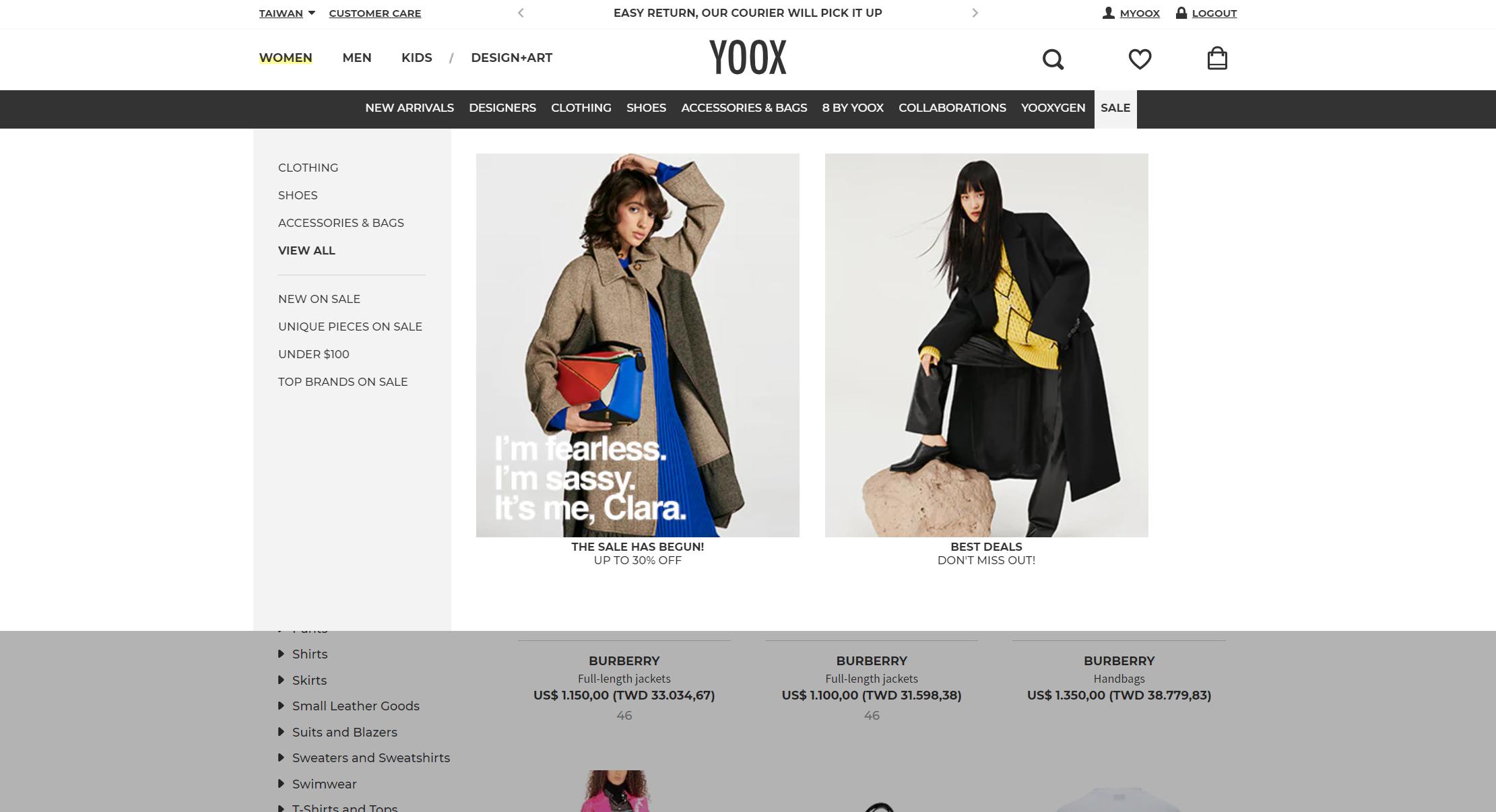 YOOX 購買教學-特價產品導覽